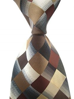 Secdtie Men's Classic Checks Dark Blue Grey Jacquard Woven Silk Tie Necktie (One Size, Brown)
