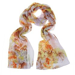 ChikaMika Chiffon Scarves for Women Light Weight Wrap Shawls Peony Beige Scarves
