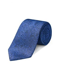 Origin Ties Mens Fashion Blue 100% Silk 3 Inch Tie Glen Check Solid Skinny Tie