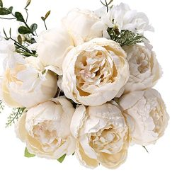Fake Artificial Flowers Vintage Silk Peony Flowers Bouquet for Home Wedding Centerpieces Décor a ...
