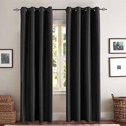 Blackout Curtains for Bedroom Black 63 inch Faux Silk Living Room Window Treatment Set of 2 Panels