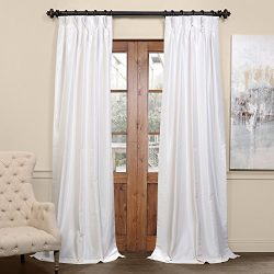 Half Price Drapes PDCH-KBS2BO-84-FP Pleated Blackout Vintage Textured Faux Dupioni Silk Curtain, ...