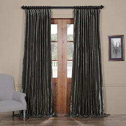 Half Price Drapes Ptch-BO005-84-DW Blackout Extra Wide Faux Silk Taffeta Curtain, 100 X 84, Burn ...