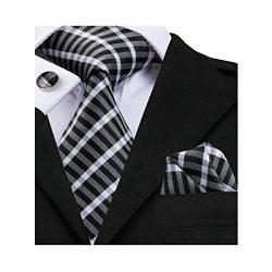 Hi-Tie New Classic Black Plaids Woven Silk Tie Handkerchief Cufflinks set