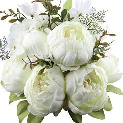 Leagel Fake Flowers Vintage Artificial Peony Silk Flowers Bouquet Wedding Home Decoration, Pack  ...