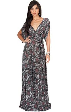 KOH KOH Womens Long V-Neck Short Sleeve Casual Summer Boho Bohemian Print Flowy Sundress Formal  ...
