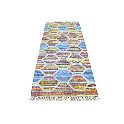 Colorful Hand Woven Kilim Runner Cotton and Sari Silk Rug (2'7″ x 6′)