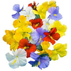 Adorox Hawaiian Luau Artificial Tropical Hibiscus Silk Flowers Assorted Colors Scatter Tabletop  ...