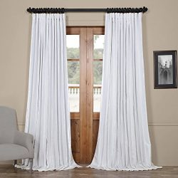 Half Price Drapes Ptch-BO120-84-DW Blackout Extra Wide Faux Silk Taffeta Curtain, 100 X 84, Glea ...