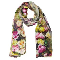 Wrapables Luxurious 100% Charmeuse Silk Floral Painting Long Scarf with Hand Rolled Edges, Rose  ...