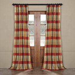 Half Price Drapes Pts-SLK17-84 Faux Silk Plaid Curtain, 50 x 84, Manor