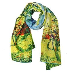 Wrapables Luxurious 100% Charmeuse Silk Long Scarf with Hand Rolled Edges, Van Gogh's Peac ...