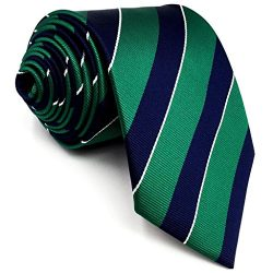 Shlax&Wing Stripes Mens Ties Blue Green Silk Silk Necktie Formal