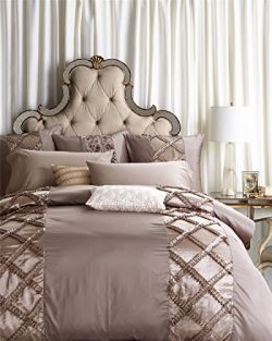 6-Piece Extra Large Silver Brown Duvet Cover Set with Embroidered 3D Multilayer Ruffles Geometri ...