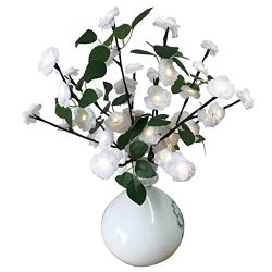 Lighted Fake Silk Flowers White Rose Branches BABALI 20 Inches Tall Battery Operated Warm White  ...