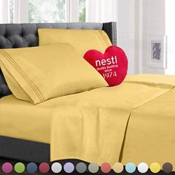 King Size Bed Sheets Set Yellow, Highest Quality Bedding Sheets Set on Amazon, 4-Piece Bed Set,  ...