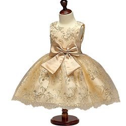 Dreamy Lantana Little Girls Gold Silk Embroidered Dress Pageant Princess Bowknot Communion Party ...