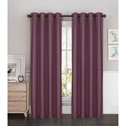 Window Elements Kim Faux Silk Extra Wide 108 x 84 in. Grommet Curtain Panel Pair, Plum
