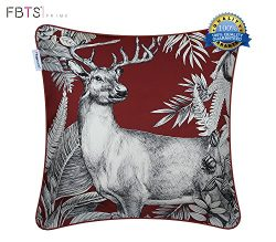 Silk-like Throw Pillow Covers Crimson 18 x 18 Inches Elk Pattern Decorative Square Cushion Cover ...
