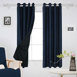 Deconovo Dupioni Faux Silk Lined Thermal Insulated Grommet Blackout Curtains for Bedroom 52W x 6 ...