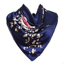 Silk Scarf Navy Blue Luxurious Square Women's Satin Chinese Rose Large Neckerchief Headdre ...