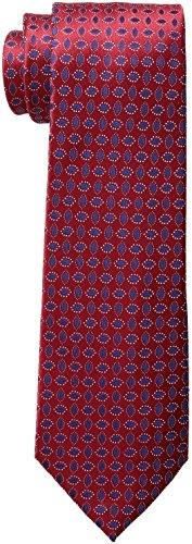 Countess Mara Men's Serres Neat 100% Silk Tie , Red, One Size