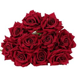 10 Pcs Real Touch Silk Artificial Rose Flowers Silk Gluing PU Fake Flower Home Decorations for W ...