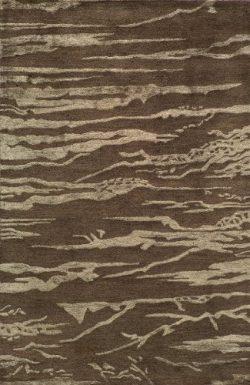 Momeni Rugs ZEN00ZEN-2BRN5080 Zen Collection, Wool & Banana Silk Hand Tufted Contemporary Ar ...