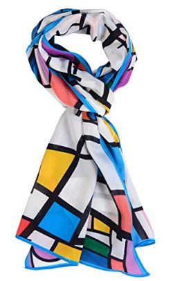 Salutto Women 100% Silk Scarves Piet Cornelies Mondrian Painted Scarf (9)
