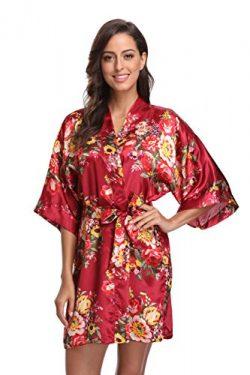 KimonoDeals Women's Satin Short Floral Kimono Robe For Wedding Party, Wine XL