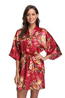 CostumeDeals KimonoDeals Women's Satin Short Floral Kimono Robe For Wedding Party, Wine S