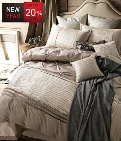 Luxury Duvet Cover Set Queen Size European Style Vintage Solid Champagne Bedding Set with 2 Pill ...