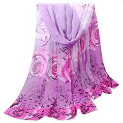 Scarves,Han Shi Women Retro Rose Print Silk Chiffon Scarf Soft Voile Shawl Wrap Infinity (L, Purple)