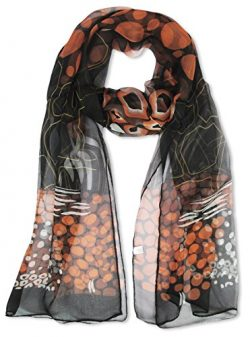 V28 Womens Floral & Graphic Print 100% Silk Great Nature Pattern Scarf (VolcanoOrangeRocks-B ...