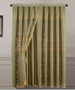 All American Collection New 2 Panel Embroidered Sheer Curtain with Attached Valance and Faux Sil ...
