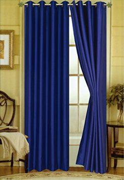 "A Pair of 2 Faux Silk Grommet Curtain Panels (Navy Blue, 58″x""84)"