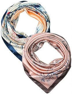 2 Pcs 35 Inches Silk Feeling Women's Square Scarf Hair Scarves by corciova
