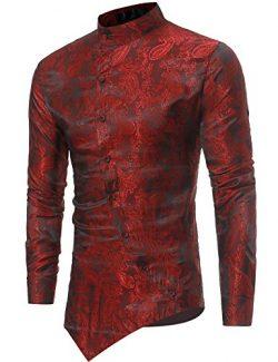 Modfine Men's Long Sleeve Printed Silk Dress Shirt Dance Prom Party Button Down Fashion Sh ...