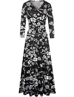 Aphratti Women's Bohemian 3/4 Sleeve Vintage Faux Wrap Long Maxi Dress Medium Black