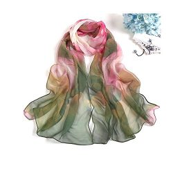 MELODY STORY Unique Print Silk Feeling Scarf For Women 63×20 Inches(green)