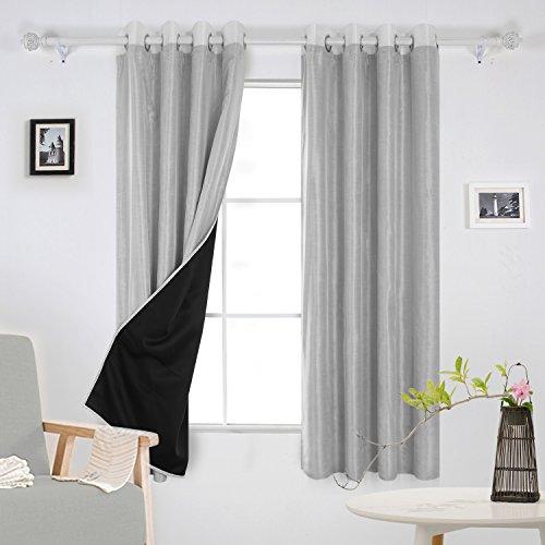 Deconovo Room Darkening Lined Curtains Faux Silk Blackout