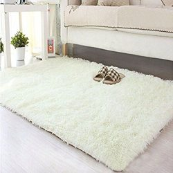 Yesido. Soft Velvet Silk Rugs Simple Style Modern Shaggy Carpet Fashion Color Bedroom Mat for Gi ...