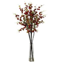 Nearly Natural 1193-RD Cherry Blossoms with Vase Silk Flower Arrangement, Red