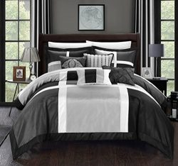 Chic Home 7 Piece Alleta Patchwork Solid Color Block with Embroidery And Pintuck Decorative Pill ...
