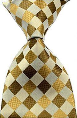 Scott Alone : New Classic Checks Jacquard Woven Silk Men's Tie Necktie (Brown)