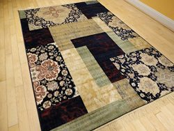Large Luxury Silk 8×12 Contemporary Rugs For Living Room Navy Beige Cream Green Beige Rugs  ...