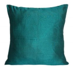 Set of 2 Dark Teal Art Silk Pillow Covers, Plain Silk Cushion Cover, Solid Color Dark Teal Throw ...