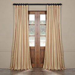 Half Price Drapes Pts-SLK16-96 Luxury Faux Silk Stripe Curtain, 50 x 96″, Oakmere