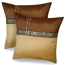 One Pair Brown Gold Elephant Stripe Throw Cushion Cover/Pillow Case Thai Silk for Decorative Sof ...