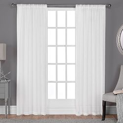 Exclusive Home Belgian Textured Linen Look Jacquard Sheer Window Curtain Panel Pair with Rod Poc ...